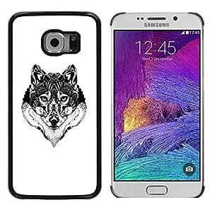 Be Good Phone Accessory // Dura Cáscara cubierta Protectora Caso Carcasa Funda de Protección para Samsung Galaxy S6 EDGE SM-G925 // Wolf Black White Drawing Art Eyes