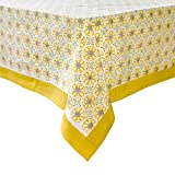 Couleur Nature Caravan Bleu D'Chine Tablecloth, 59 by 59-Inch, Yellow/Wheat