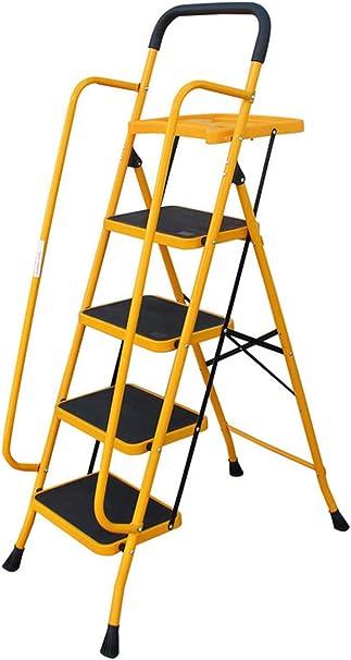 Guoyajf Escalera De Seguridad Plegable De 4 Escalones / 5 Escalones -Taburete Plegable con Pasamanos Laterales Antideslizantes, Escaleras De Mano para Uso Doméstico Y De Oficina,5Step: Amazon.es: Hogar