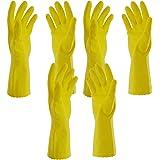 Primeway Rubberex Flocklined Medium Rubber Hand Gloves (Yellow, Pack of 3)