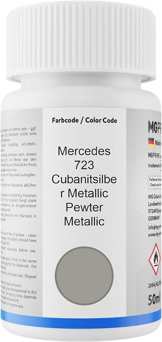 Mg Prime Autolack Lackstift Set Für Mercedes 723 Cubanitsilber Metallic Pewter Metallic Basislack Klarlack Je 50ml Auto