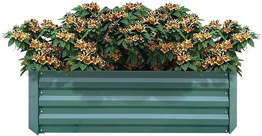 AUFUN Jardinera de Acero Galvanizado 120x90x30cm Verde bancal de ...
