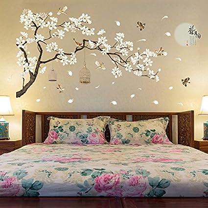 Amazon Com Anber Large Tree Wall Sticker Birds Flower Home Decor