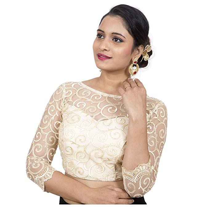 12b72809e47cd Rinkoo Women s Dupion Silk Embroidered Net 3 4th Sleeves Princess Cut  Stitched Padded Saree Blouse