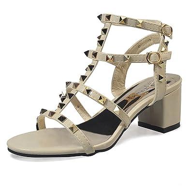 BAINASIQI Damen Römersandalen mit Blockabsatz Elegant Nieten