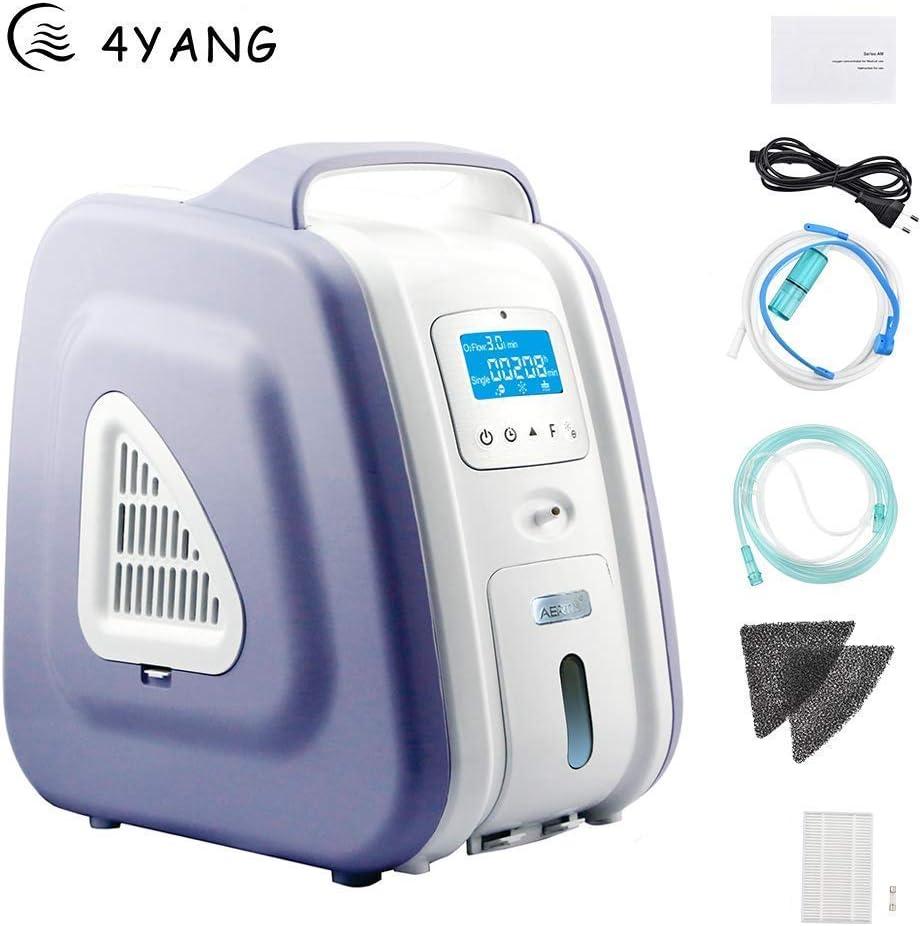 4YANG Concentratore di ossigeno , 1-5 P//min 93/% di elevata purezza Generatore di concentratori di ossigeno portatile con controllo wireless Macchina dellossigeno per uso domestico in auto Purple