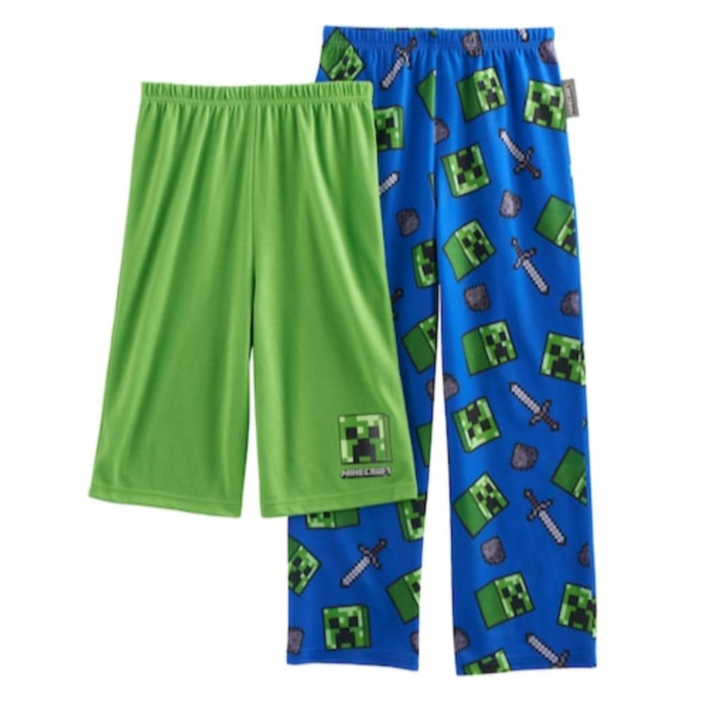 AME Boys Minecraft Creeper 2-Pack Lounge Pants & Shorts Size Medium (6/8)