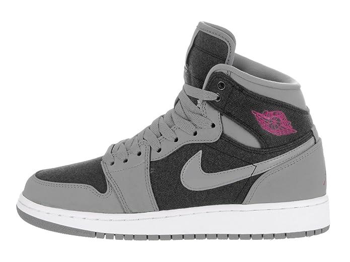 check out 2ff32 1ed88 Nike Jordan Kids Air Jordan 1 Retro High Gg Cool Grey Vivid Pink Black Basketball  Shoe 7.5 Kids US  Amazon.ca  Shoes   Handbags