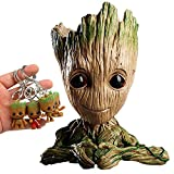 Baby Groot Flowerpot 6 inch with 4 Adorable Keychains – Perfect for Flower Succulent Planter Or Desk Pencil Pen Pot Holder Decor (Baby Groot Heart Hands)