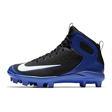 1de8e7731bf9 Nike Men s Alpha Huarache Pro Mid MCS Baseball Cleat Black White Game Royal  Size