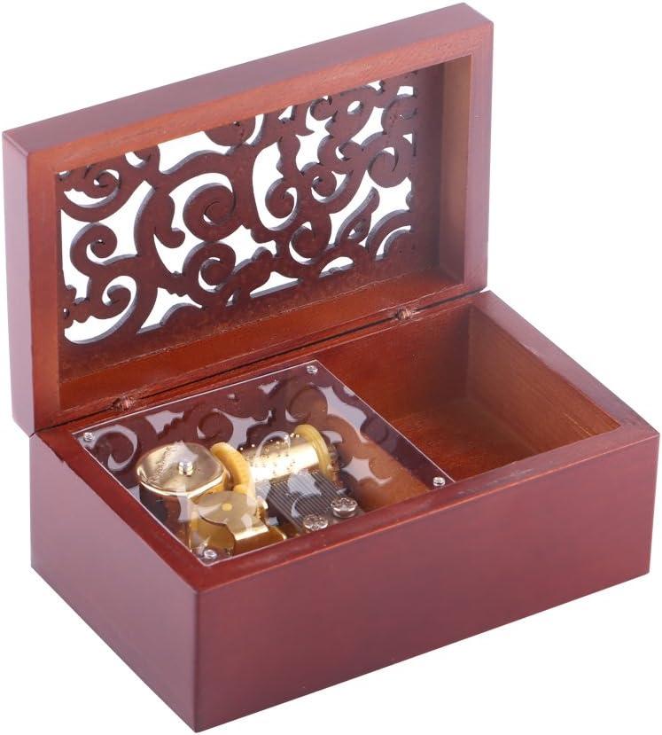 Caja de M/úsica de Madera Caja Musical de 18 Nota Wind Up Caja de M/úsica Caja de Maquillaje Decoraci/ón de Hogar Regalo de Navidad Valent/ín Gold//For Elise