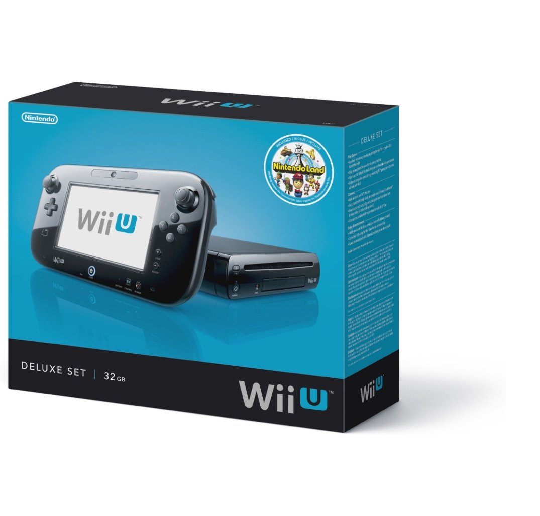 Nintendo Wii U Console Deluxe Set | 32 GB Flash Memory | SDHC Memory Card | Wireless GamePad | Compatible with Wii & Wii U disc | Stereo Audio | HDMI | Black by Nintendo