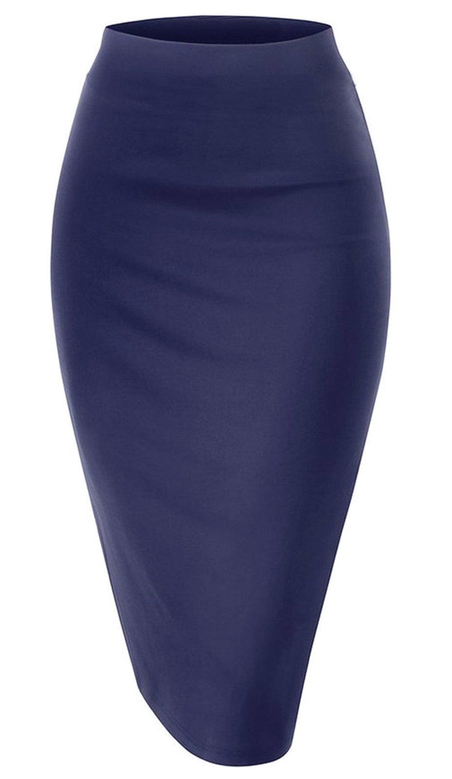 Women Elastic Waist Band Stretchy Fabric Pencil Skirt (Medium, Navy) by Noble U