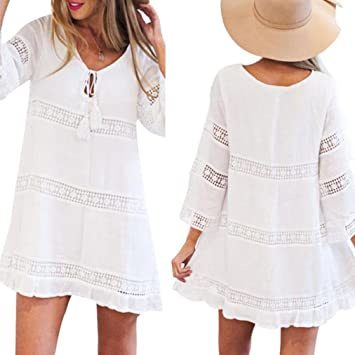 0a45040fb12 Howstar Women s Casual Loose Dress Party Mini Dress with Sleeve Ladies Lace  Shirt Dress (White