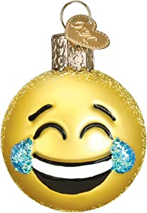 Old World Christmas Glass Blown Ornament with S-Hook and Gift Box, Emoji Collection (Laugh)