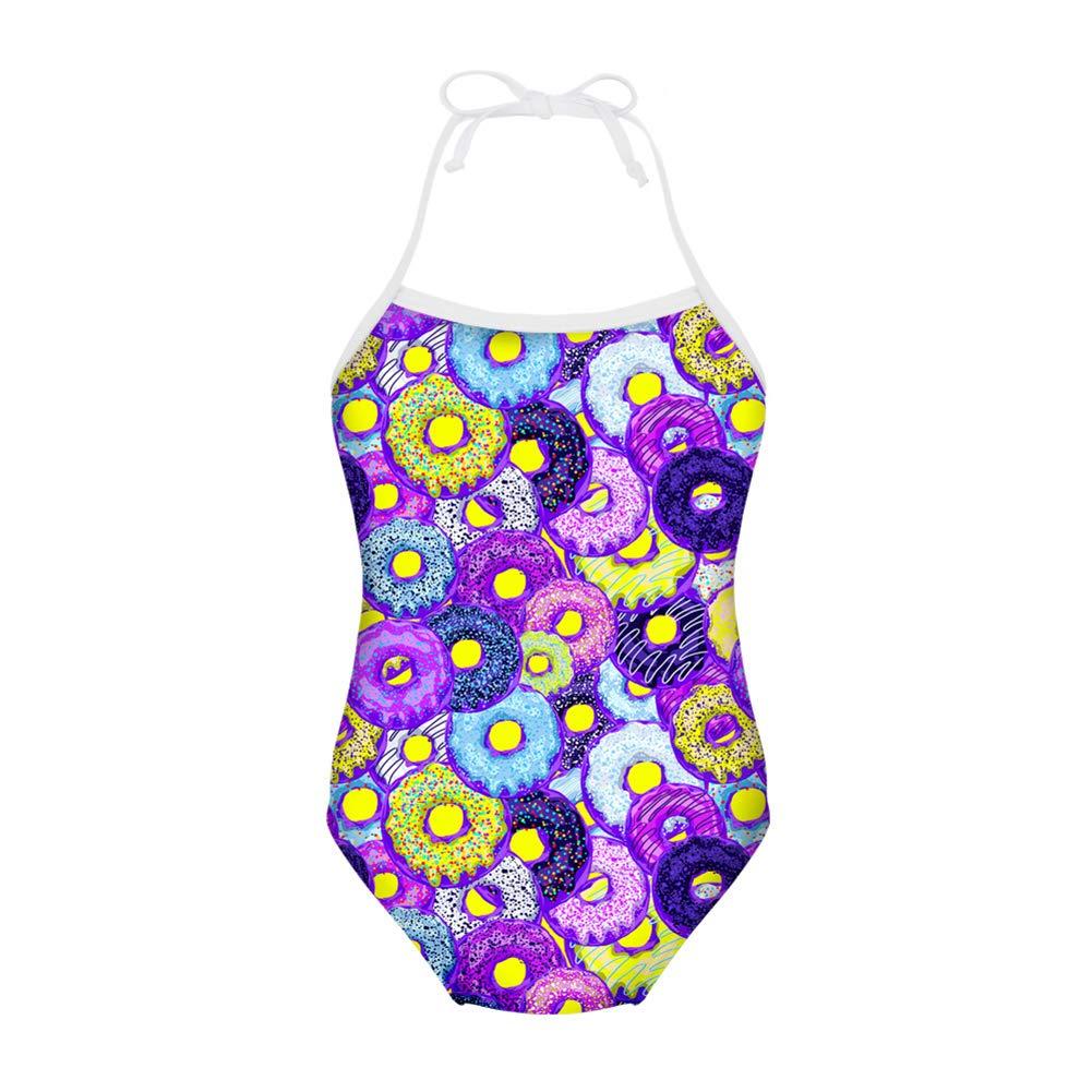 8fe8a3ff86 Amazon.com: FUIBENG Sweet Doughnut Pattern Girl One Piece Swimsuit Bathing  Suit Kid Bikini: Clothing