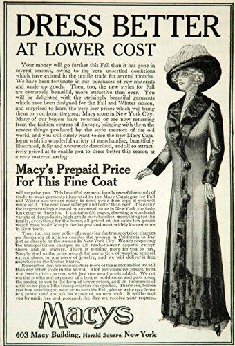 1911 Ad Macys Department Stores Retail Fashion Clothing Edwardian Era Costume - Original Print - Stores Macys