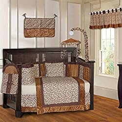 BabyFad Leopard Print 10 Piece Baby Boy's Crib Bedding Set