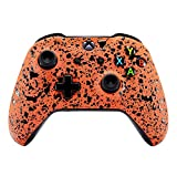 eXtremeRate Textured Orange Faceplate Cover, 3D Splashing Front Housing Shell Case, Comfortable Non-slip Replacement Kit for Xbox One S & Xbox One X Controller For Sale