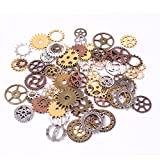 Bestsupplier INC 200 Gram (Approx 150pcs) Assorted Antique Steampunk Gears Charms Pendant Clock Watch Wheel Gear for Crafting, Jewelry Making Accessory (Random Color)