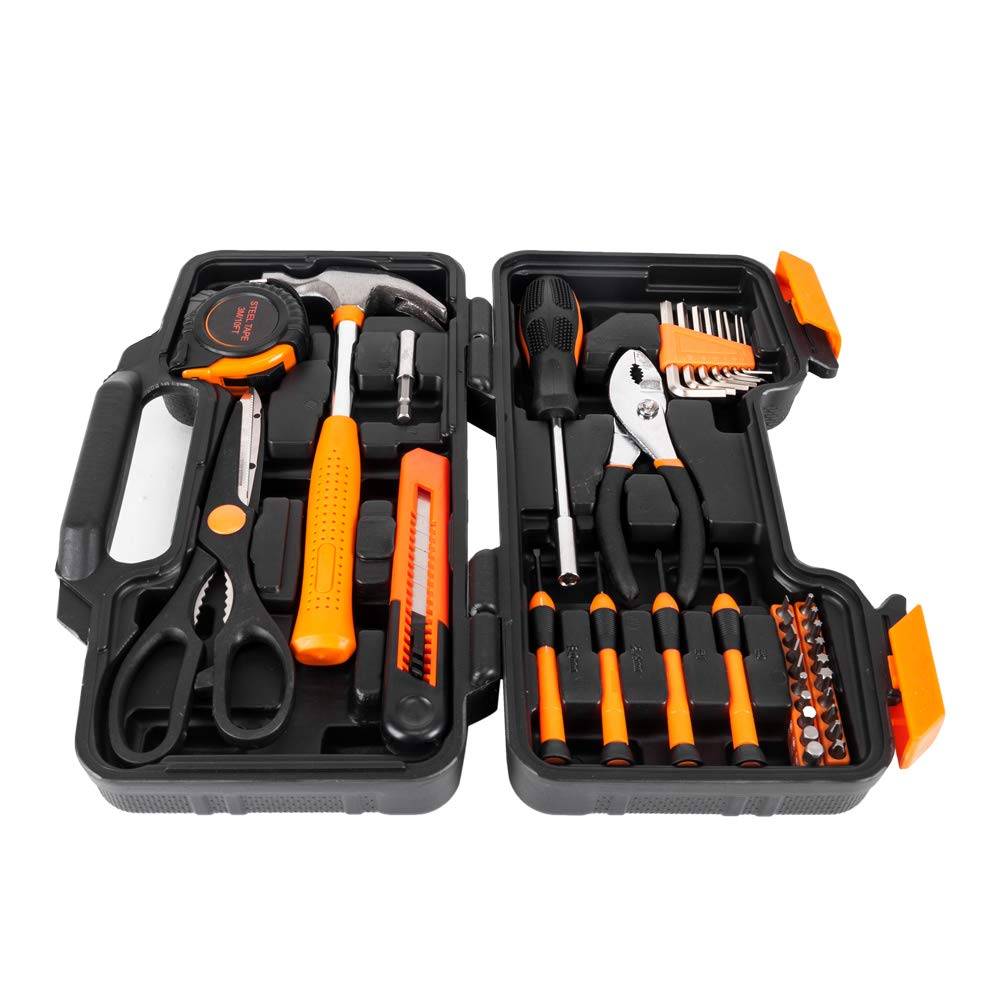 Orange 39-Piece Tool Set - General Household Hand Tool Kit with Plastic Toolbox Storage Case Shipment from USA Warehouse by IEnkidu