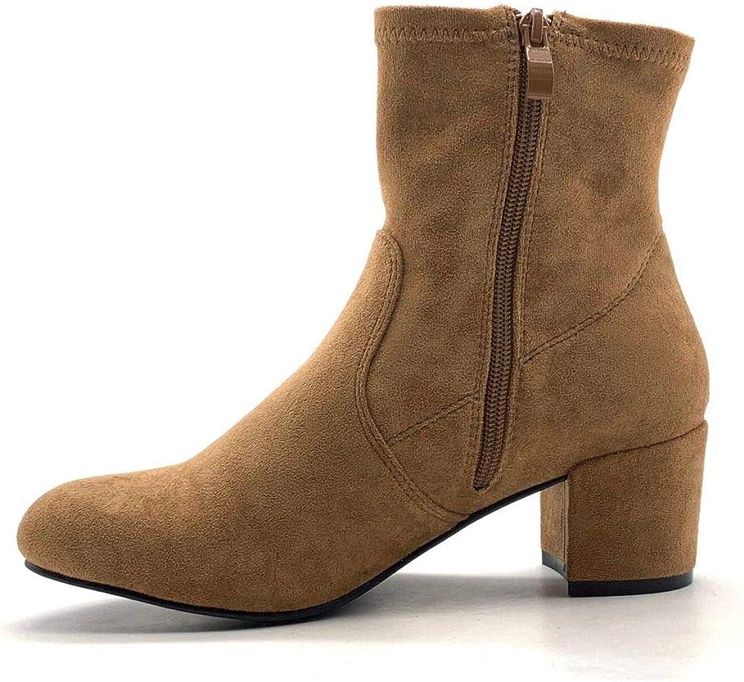 Angkorly - Damen Schuhe Stiefeletten Stiefel - Sock Boots - Flexible - Biker - Basic - Basic Blockabsatz 5.5 cm Braun
