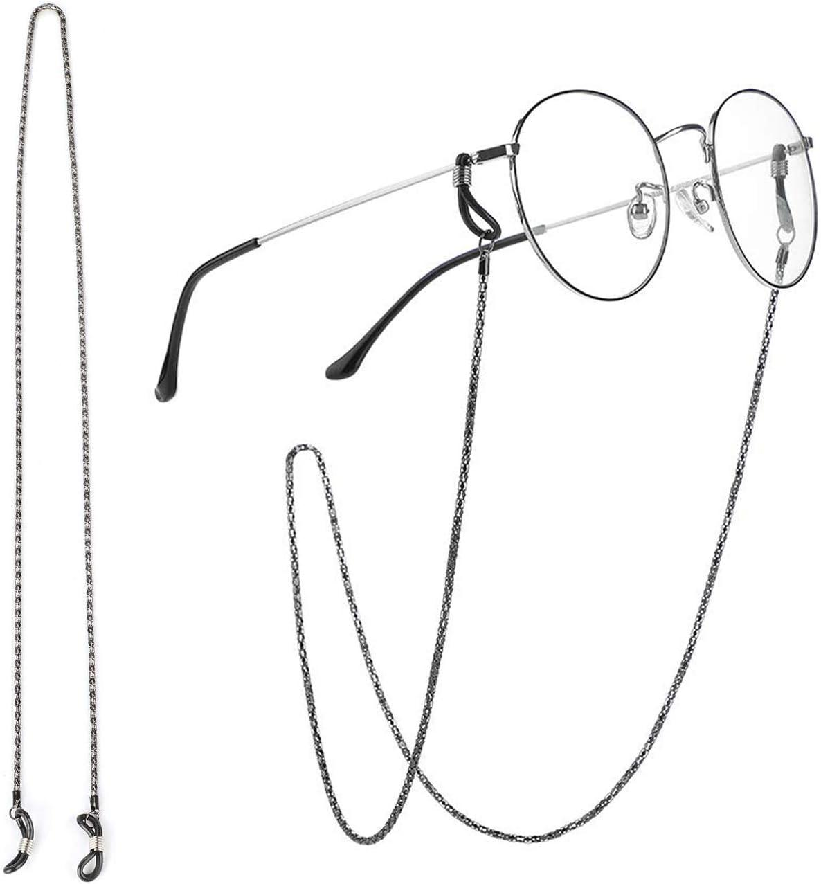 Brillenkette Brillenketten Brillen Cord Brillenband Edelstahl Retro Brillen Sonnebrillen Lesebrille Cords Silber Schwarz Gold