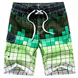 Colorful Swim Trunks for Men, Slim-Fit Fashion Boardshorts Cotton Sweat Absorbing Board Shorts Green Size M