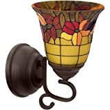 It's Exciting Lighting IEL-7000 Tuscany Faux Stained Glass Flameless Oil Rubbed Sconce, Battery Powered Wall Sconce With One LED, No Electrical Outlet Required