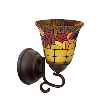 Itu0027s Exciting Lighting IEL 7000 Tuscany Faux Stained Glass Flameless Oil  Rubbed Sconce, Battery