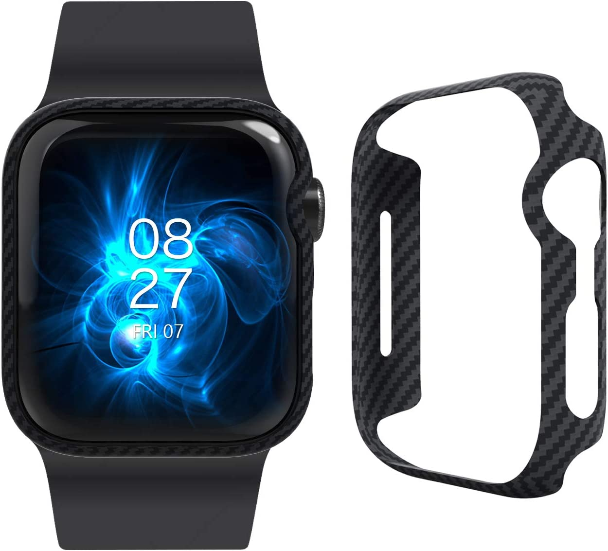 PITAKA Ultra Slim and Thin Case for Apple Watch 40mm Series [Air Case] 6/SE/5/4 Elegant Genuine Aramid Fiber Exquisite Refined Minimalist Watch Case with Snug Fitment - Black(Twill)