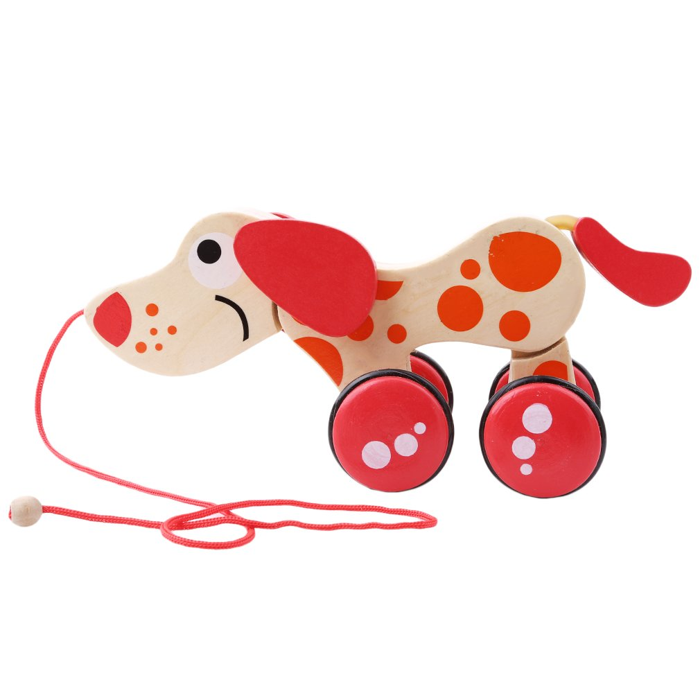 TraveT Wooden Pull Toy, Animal Twisting Trailer Wooden Toy Car