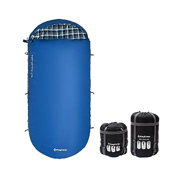 Saco de dormir extragrande de KingCamp; de 100 cm; ancho; de algodón;