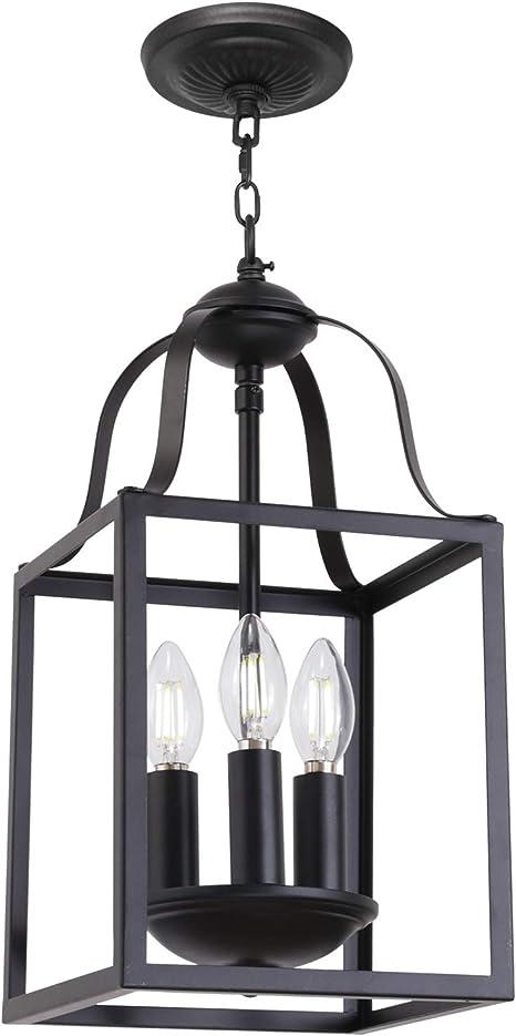 Amazon Com Melucee Black Pendant Light 8 Inches Lantern Chandelier Farmhouse 3 Lights E12 Base Dining Room Lighting Fixtures Hanging Kitchen Island Lighting Entry Light Fixtures Home Improvement