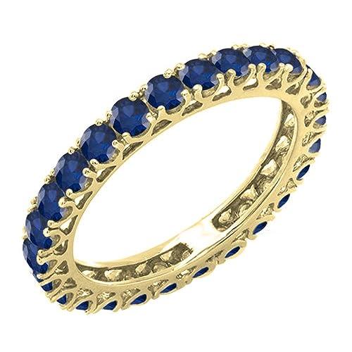 DazzlingRock Collection 1.80 Quilates (CTW) 14K Oro Redondo Azul Zafiro Mujer eternidad Anillo de