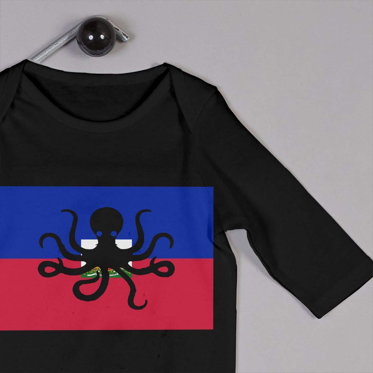 YUE--3BODY Octopus Flag of Haiti Baby Girls Long Sleeve Infant Cotton Bodysuits Onesies