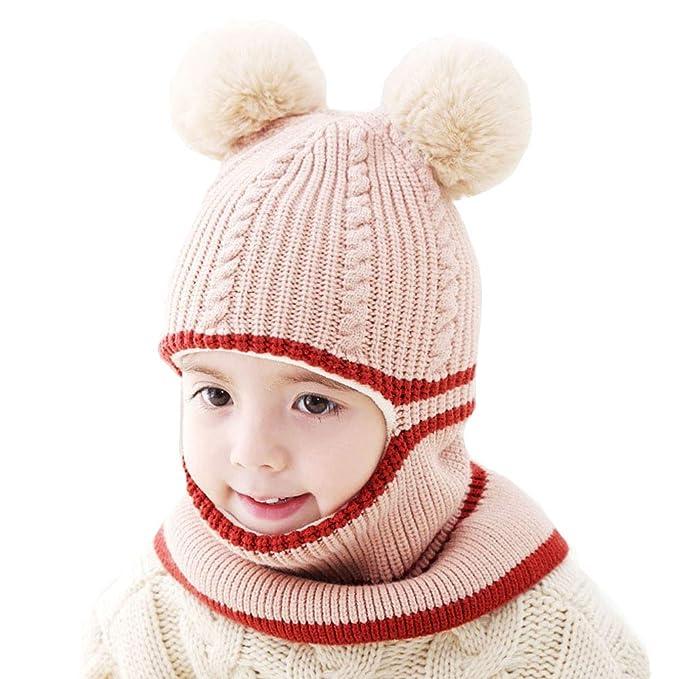 5ce9cb26ccab Uniyoung Girls Boys Winter Warm Hat Toddler Baby Knit Double Pom Pom Beanie  Hat Earflap Hood