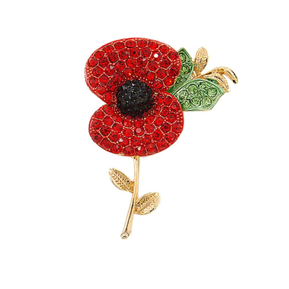 Amazon Red Poppy Flowers Brooch Pin Badge Glitter Soldier