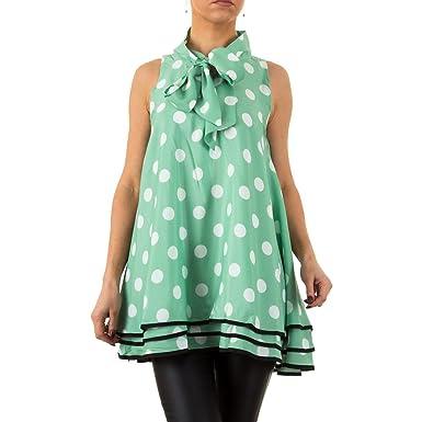 3632cb75245f Schuhcity24 Damen Tunika Designer Bluse festlich Elegantes Hemd Buisness  Partybluse Gemusterte Grün S M