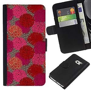 EJOY---La carpeta del tirón la caja de cuero de alta calidad de la PU Caso protector / Samsung Galaxy S6 EDGE / --Flores florales primavera púrpura del arte