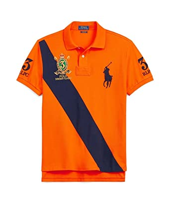 ed56c138f03 Polo Ralph Lauren Custom Fit Mesh Men s Polo Shirt (Fiesta Orange ...