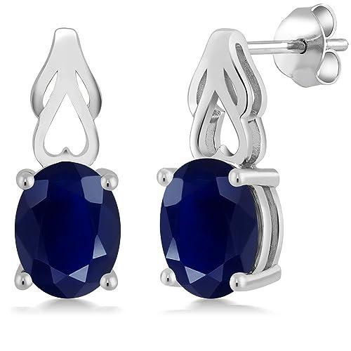 Gem Stone King 5.00 Ct Oval Blue Sapphire 925 Sterling Silver Gemstone Birthstone Earrings