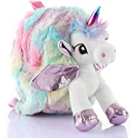 Weshopaholic Shopaholic Unicorn Plush Bag Toy Doll School Bags for Kindergarten (Multicolour)