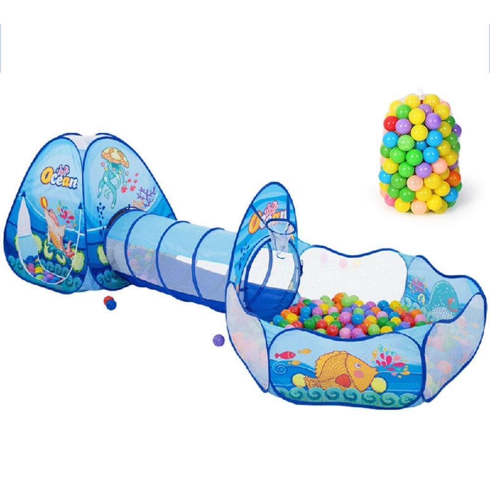 XIAO&Z Kinderzelt Spielzelt Kinder Tunnelzelt für Kinder Baby 3 in 1 Spielplatz mit Basketball Box Tunnel für Zuhause und im Garten 100 Meeresbälle Blau