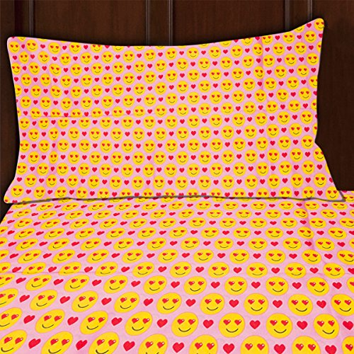 Sutton Home Fashions (3 Piece) Emoji Bed Sheet Set Twin Size Microfiber Bedding Flat Fitted Pillowcase