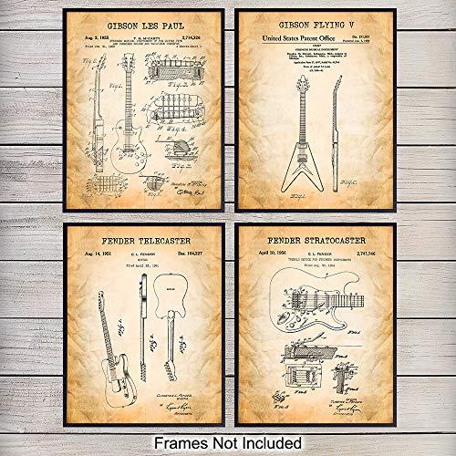 Famous Patent Art Prints - Vintage Wall Art Poster Set - Chic Home Decor for Bedroom, Living Room, Dorm, Man Cave, Den - Great Gift for Musicians, Gibson, Fender Guitar Fans- 8x10 Photo - Unframed