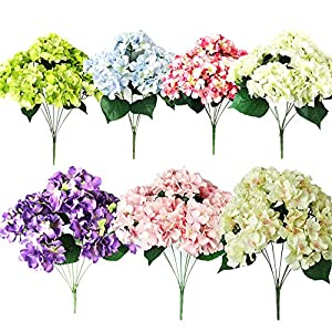 Eshock® Artificial Hydrangea/Silk Fake 7 Heads Flower/Bunch Bouquet/Home Hotel Wedding Party Garden Floral Decor 56