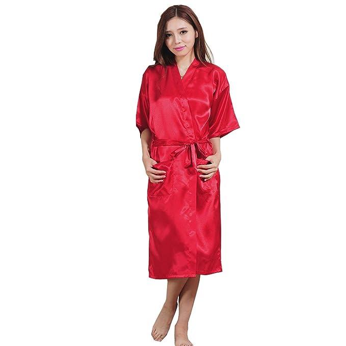 Kimono Unisex Pareja Elegantes Moda Cómodo Manga Larga Mujer Verano Albornoz Hombre Batas Color Sólido Casuales Mujeres V-Cuello Camisones Pijamas Mujer con ...