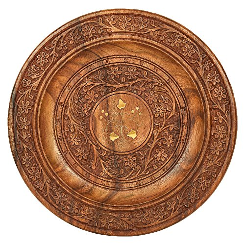 Wooden Beautiful Fine Wood Handmade Serving Round Plate, kitchen tray,With Flower Design and Carved Brass Inlay MN-wooden_serving_plate_12inch_1