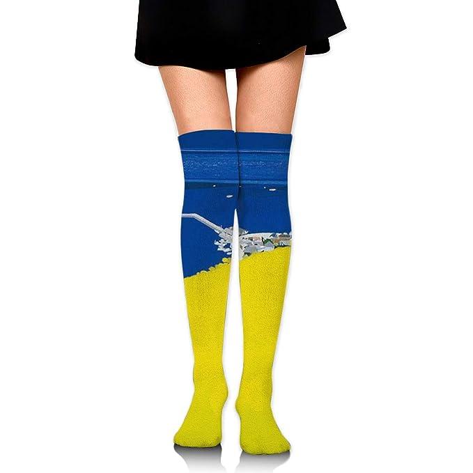 d118b2c1c37 Rape Flowers Bay Womens Knee High Socks Long Socks Sport Socks Thin For  Running